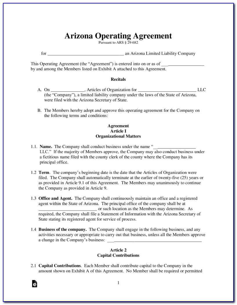 Llc Forms Arizona