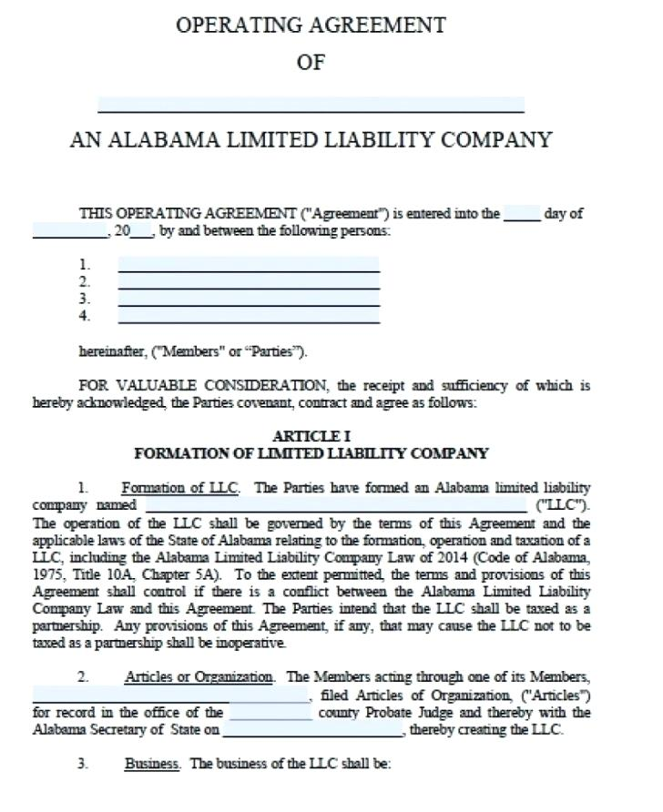 Llc Operating Agreement Template Word Doc