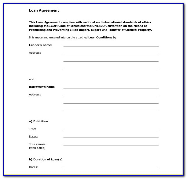 Loan Agreement Forms Pdf