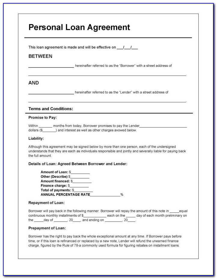 Loan Agreement Template Word Free