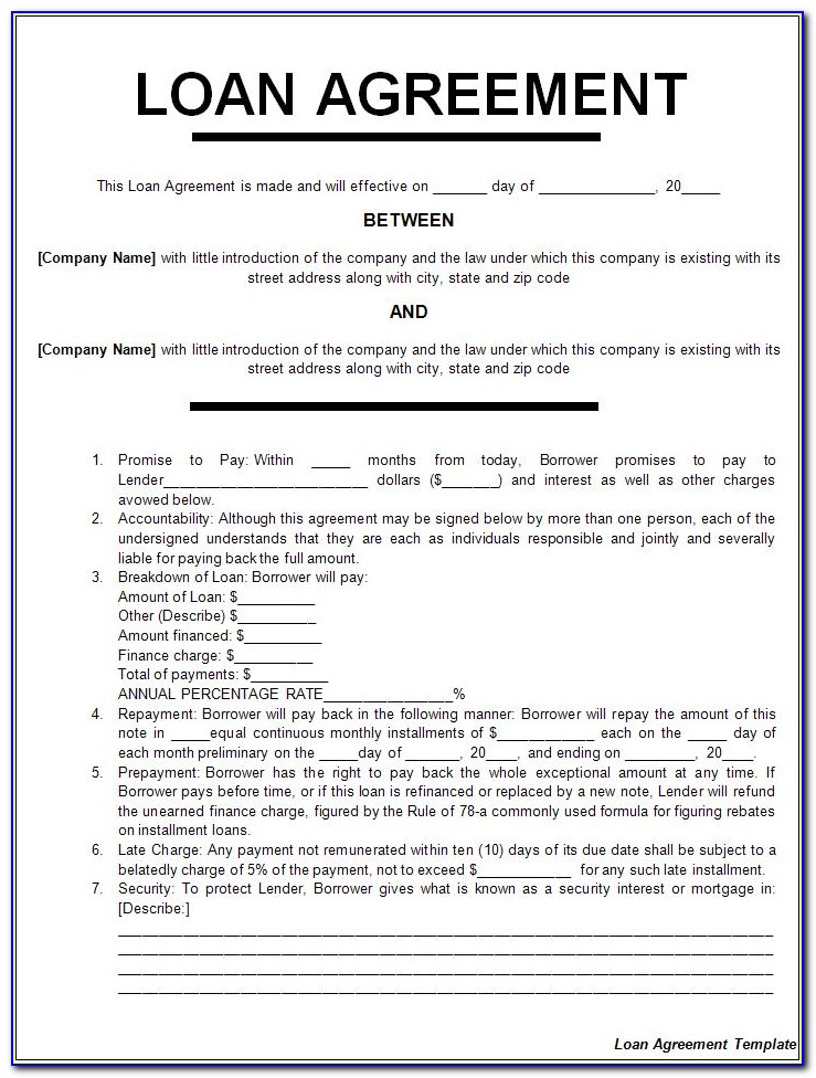 Loan Contract Template Word Free