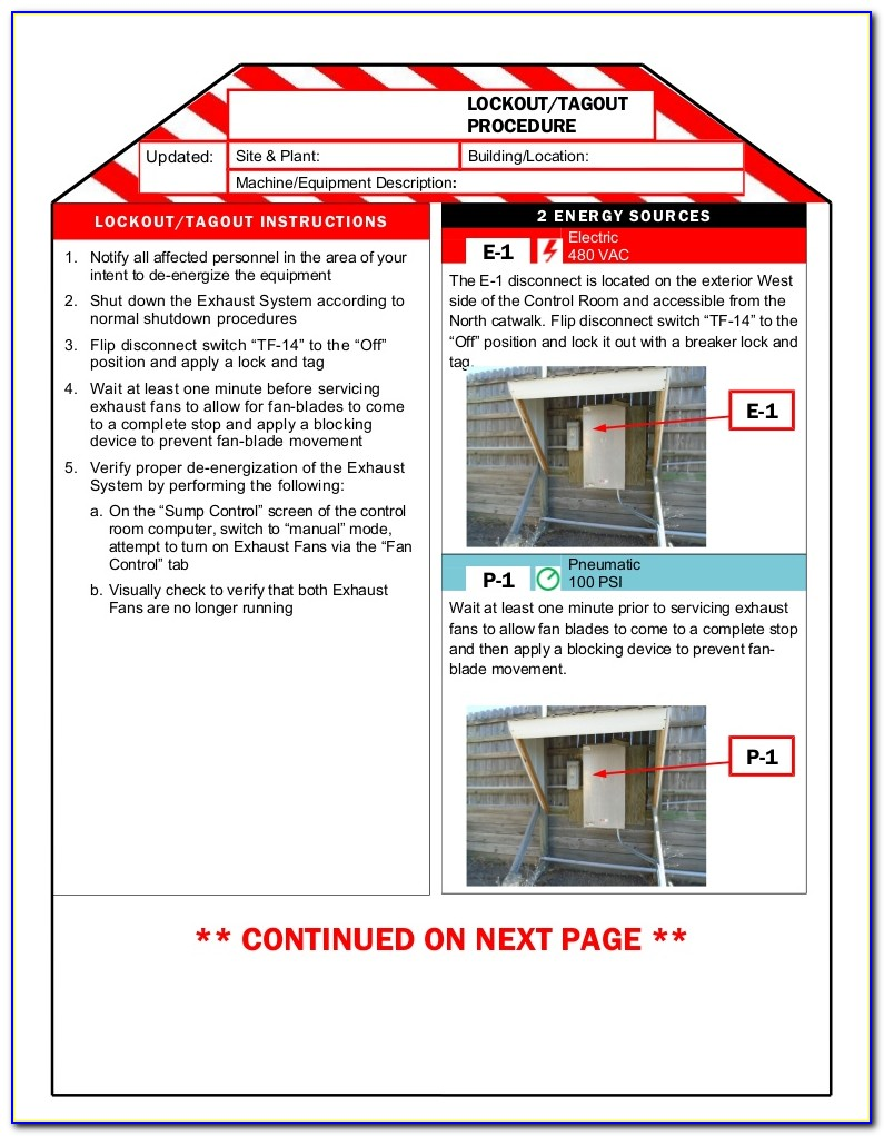 Lock Out Tag Out Procedure Template Nz