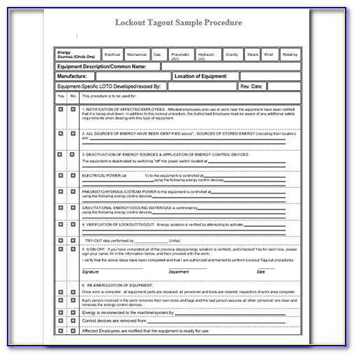 Lock Out Tag Out Program Template
