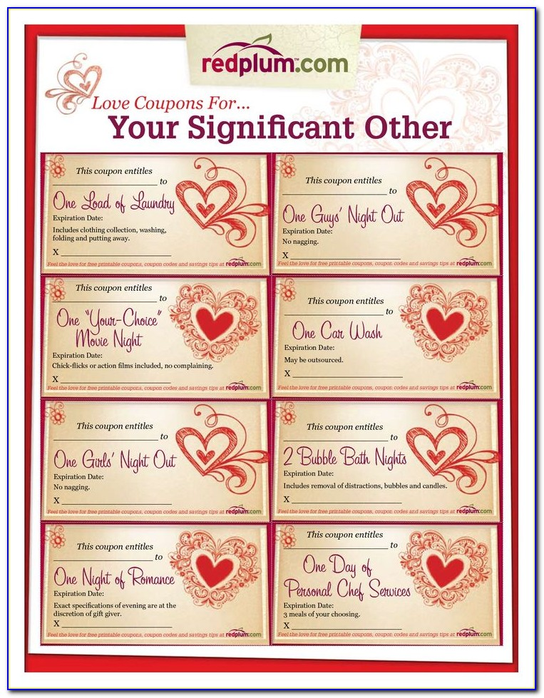 Love Coupons For Him Template Free