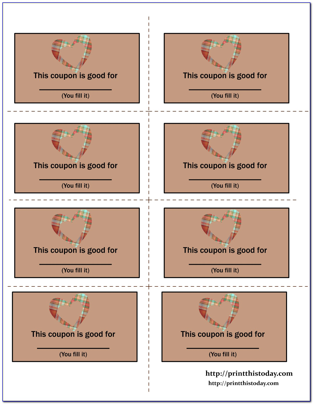 Love Coupons For Him Template