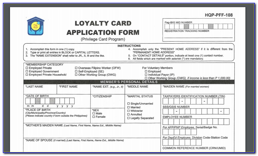 Loyalty Card Application Form Sample
