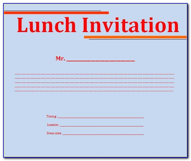 Lunch Invitation Template Free Word