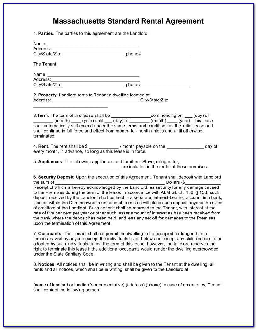 Ma Standard Residential Lease Form