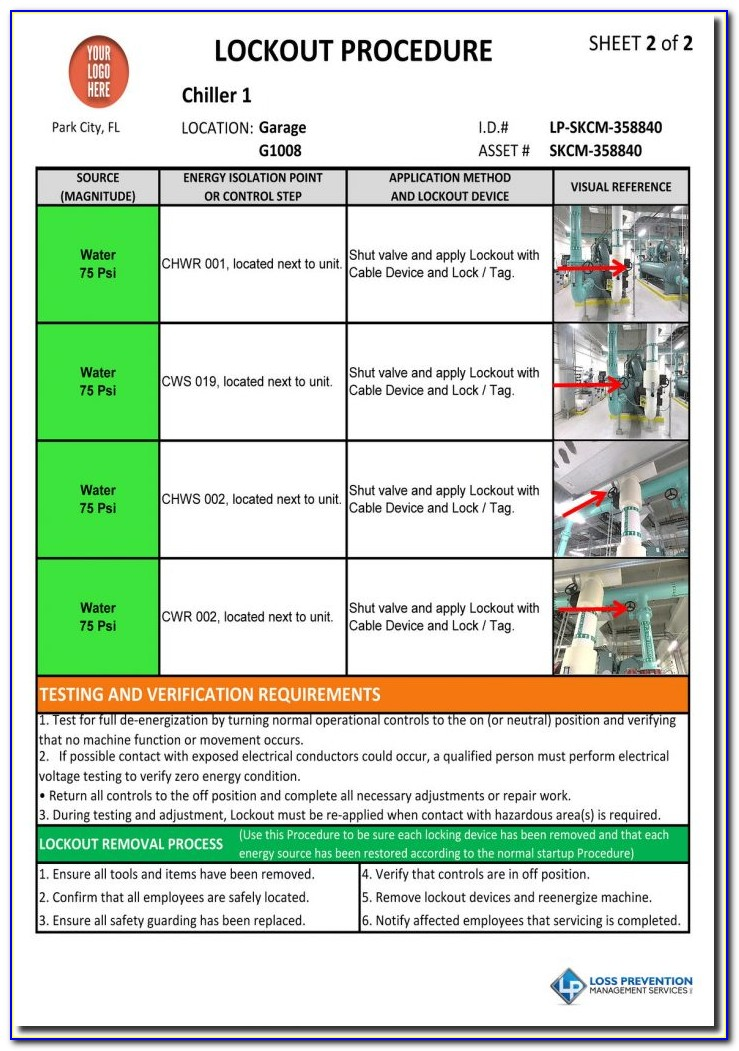 Machine Specific Lockout Tagout Procedure Template Excel