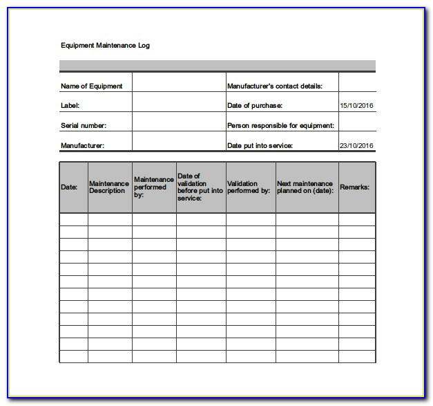 Machinery Maintenance Schedule Template Excel