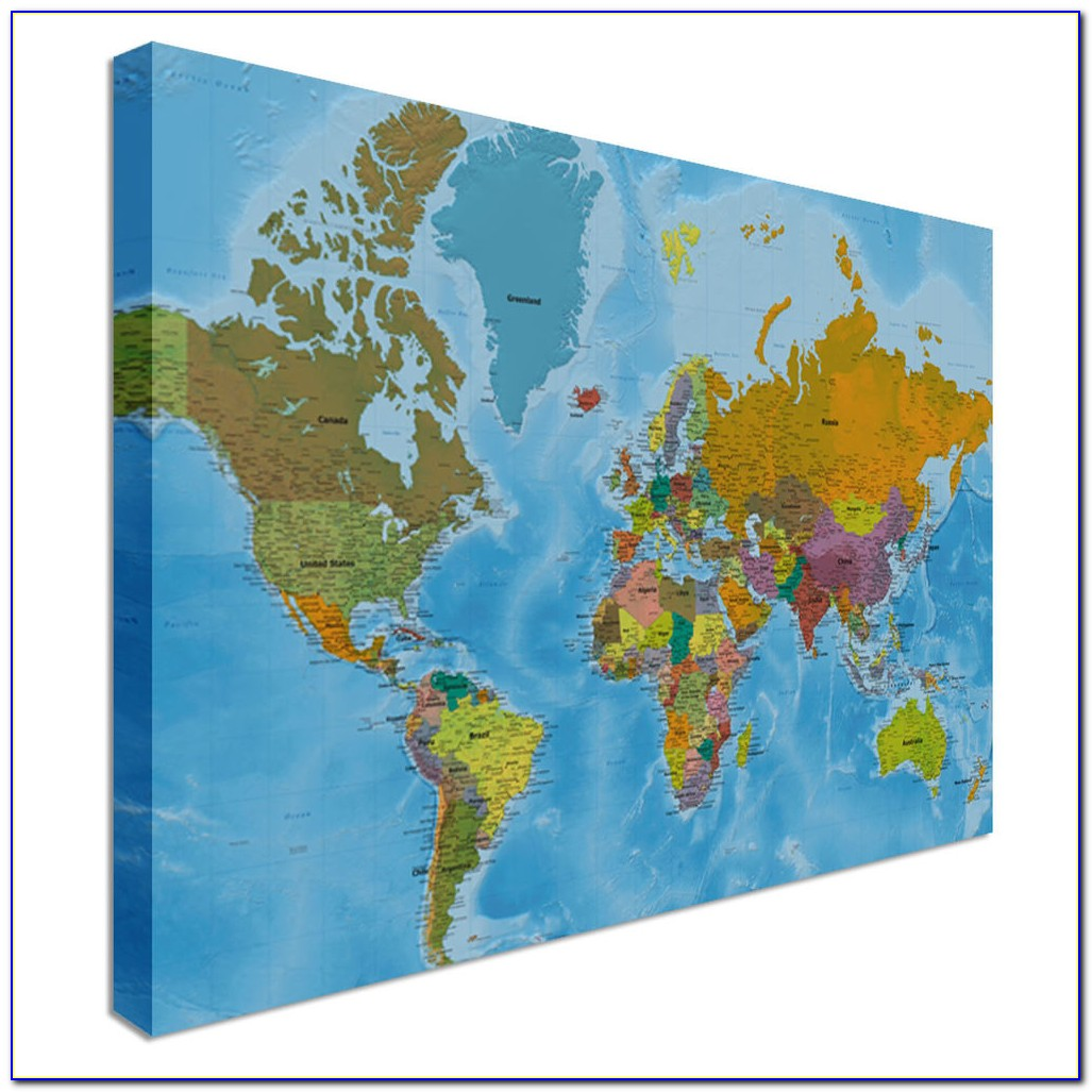 Madison Park World Map Canvas Wall Art 3 Piece Set