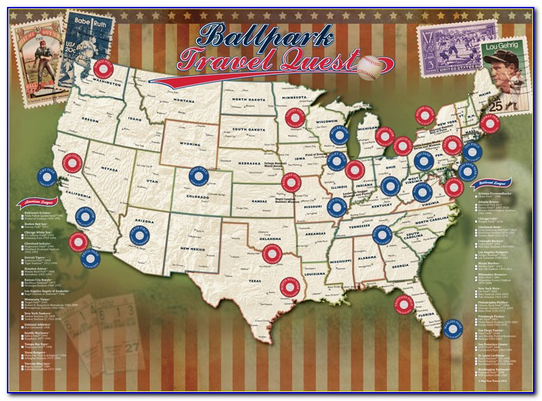 Major League Baseball Stadium Travel Map