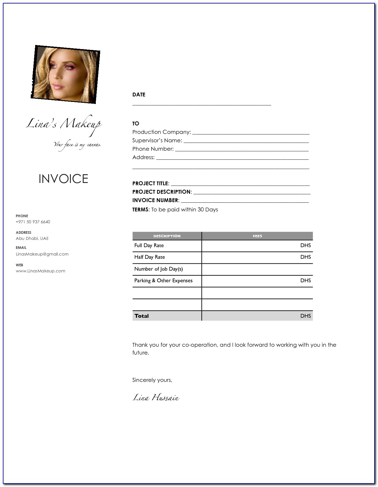 Makeup Artist Invoice Template Download