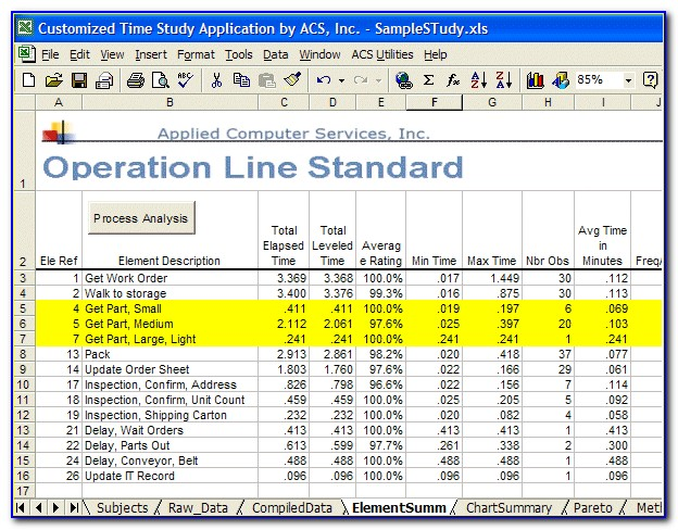Manufacturing Time Study Template Excel
