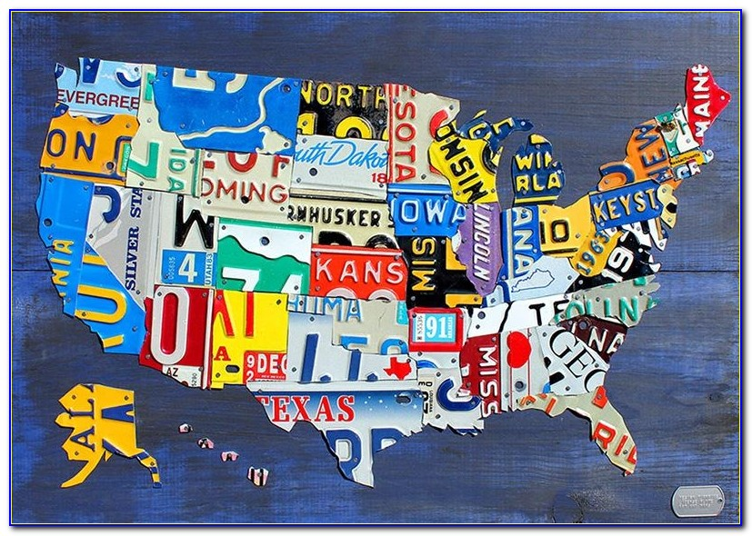 Purchase License Plate Art And License Plate Mapsdesign Turnpike Throughout License Plate Map Wall Art