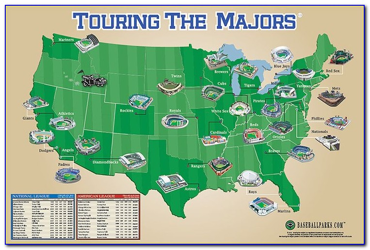 Map Of All Baseball Stadiums In Us