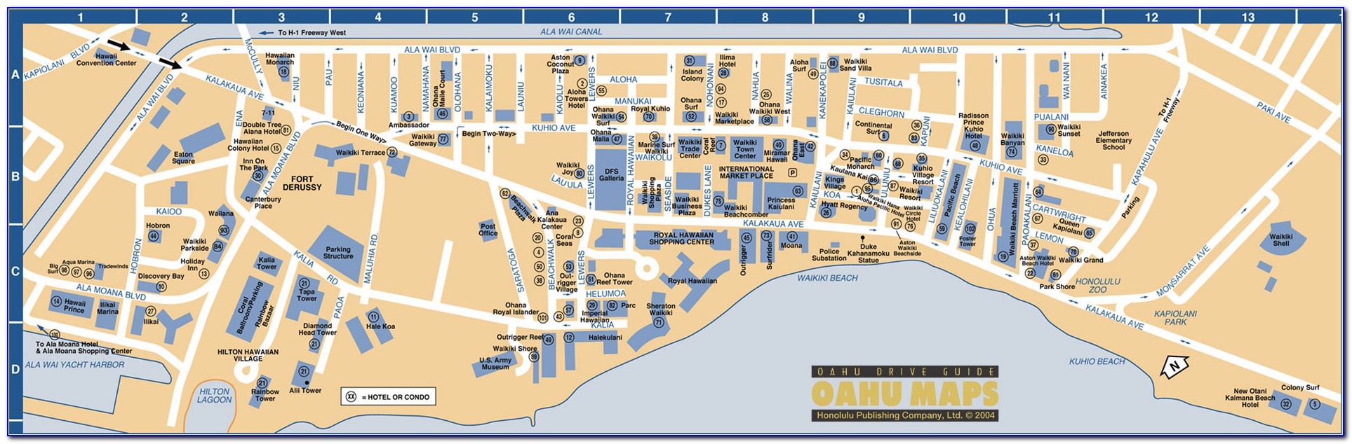Map Of All Hotels On Waikiki Beach
