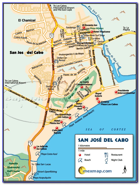 Map Of Beach Hotels In San Jose Del Cabo