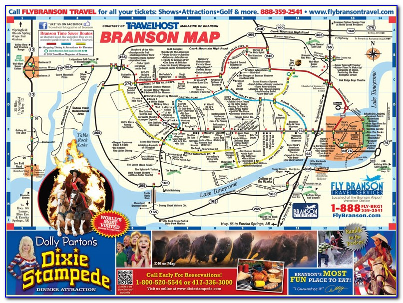 Map Of Branson Attractions And Hotels
