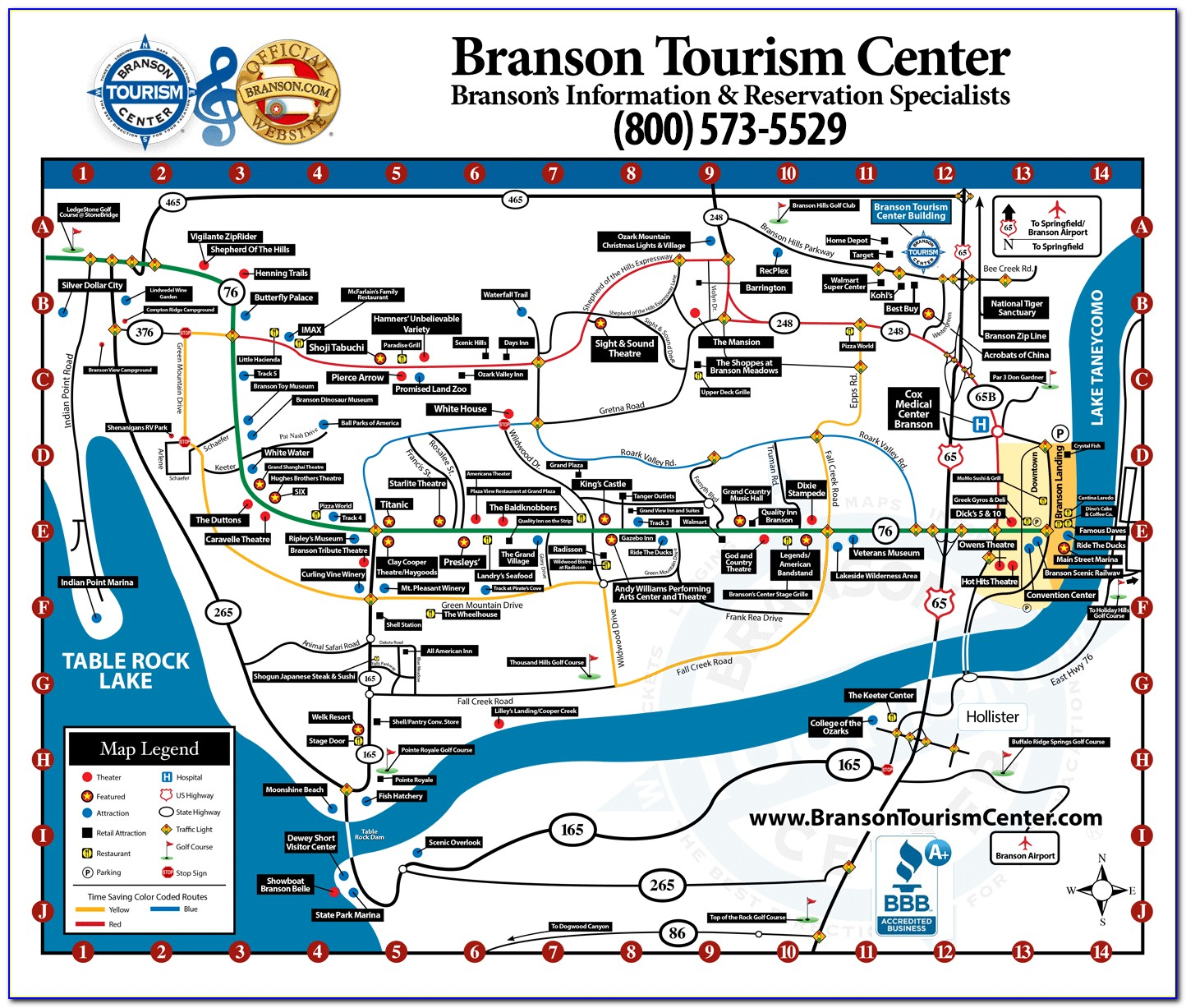 Map Of Branson Hotels And Attractions
