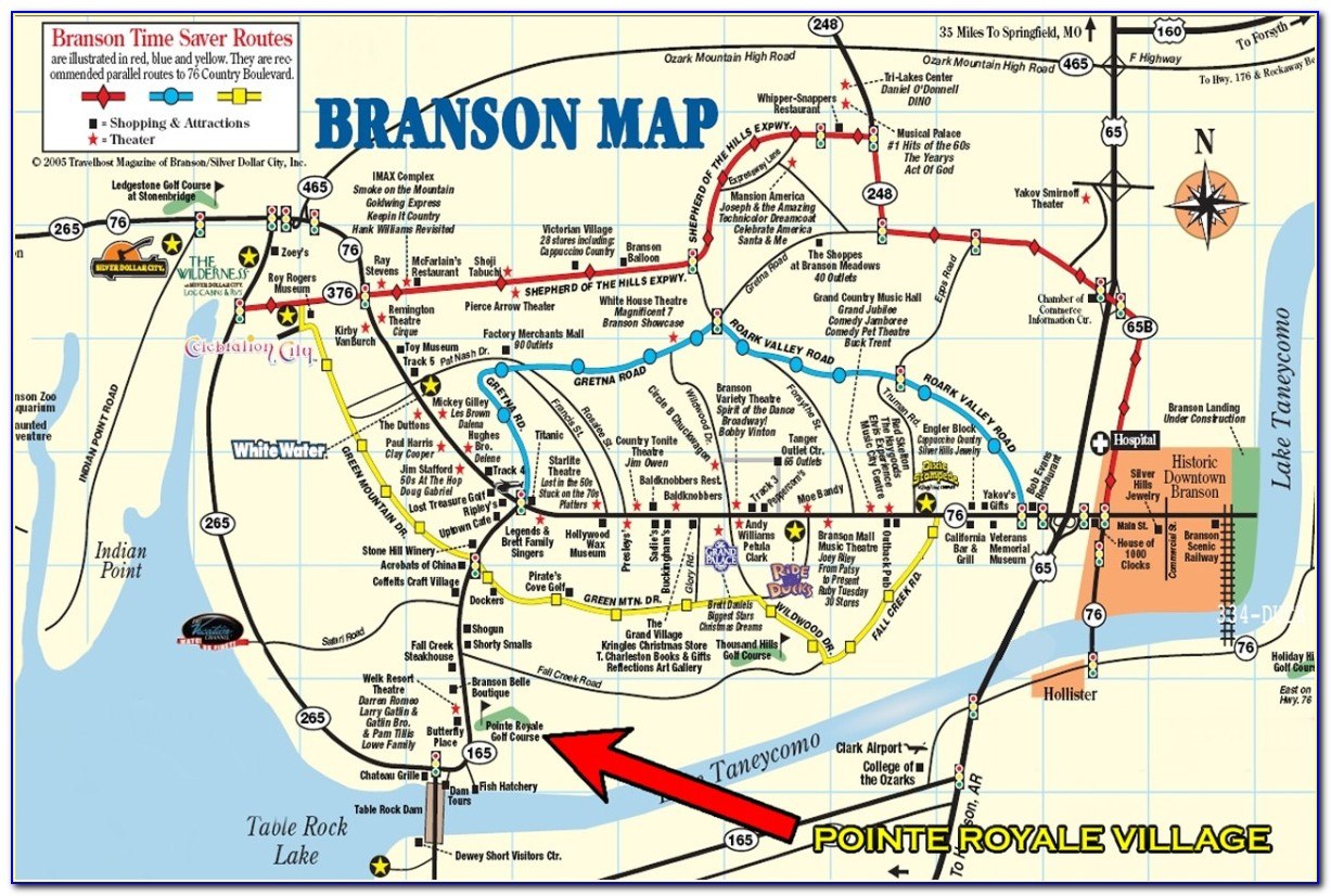 Map Of Branson Mo Attractions And Hotels