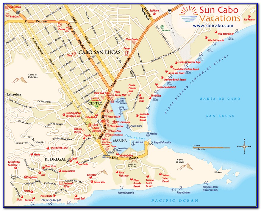 Map Of Cabo San Lucas Mexico Resorts