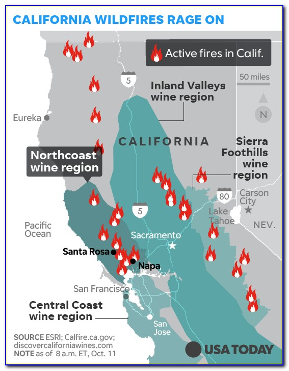 Map Of California Wineries Affected By Fire