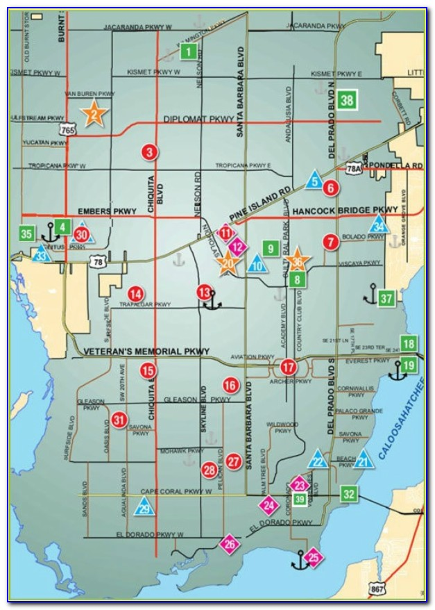 Map Of Cape Coral Florida Area