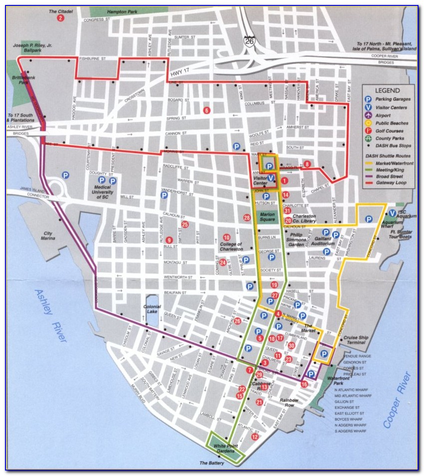 Map Of Charleston Sc Historic District Hotels