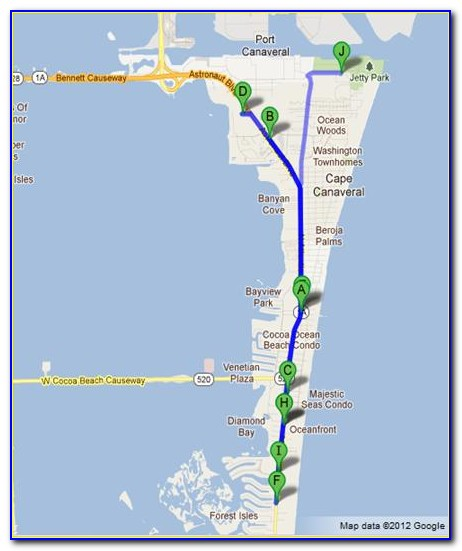Map Of Cocoa Beach Hotels