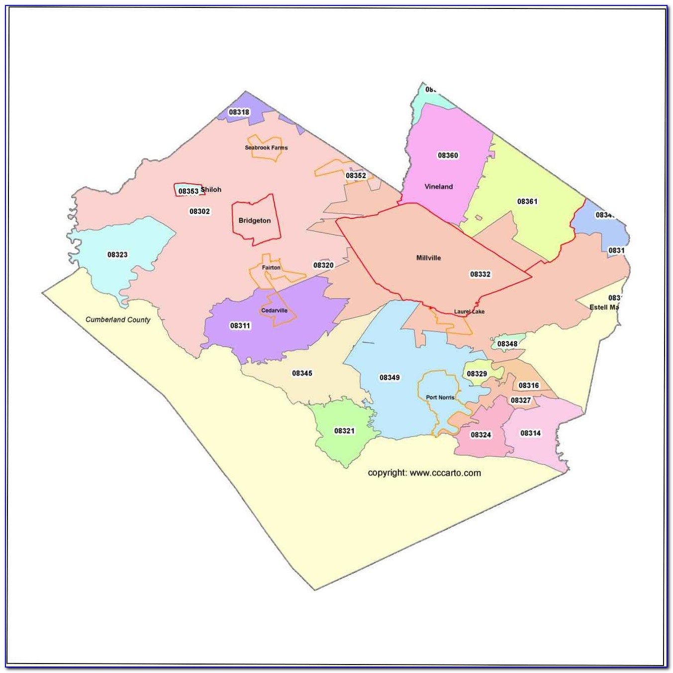 Map Of Cumberland Co Nj