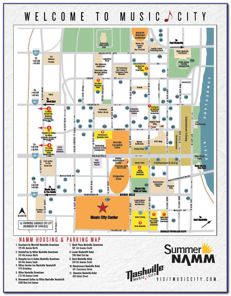 Map Of Downtown Nashville Showing Hotels