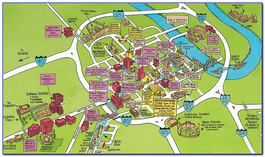 Map Of Downtown Nashville With Hotels And Attractions