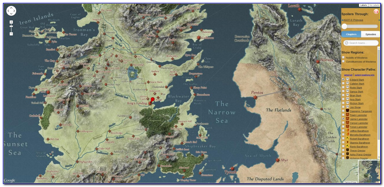 Map Of Game Of Thrones Houses