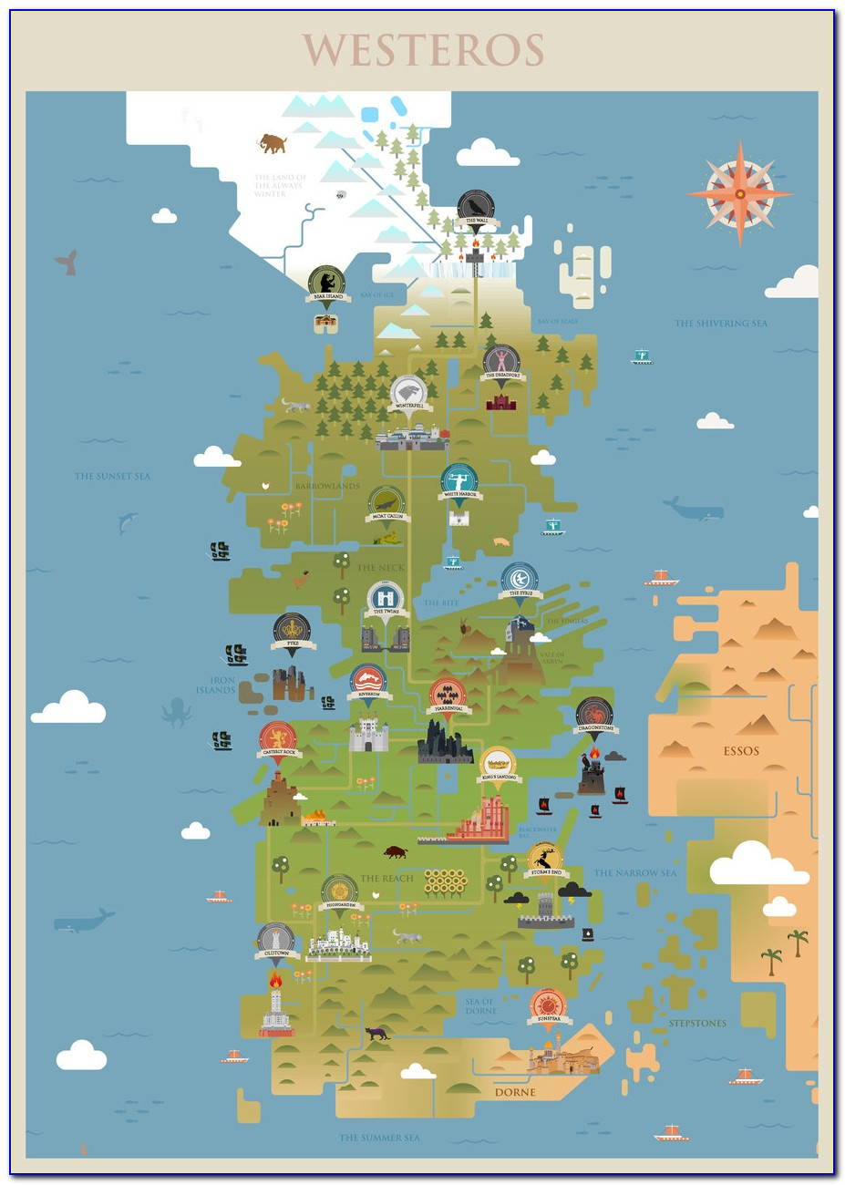Map Of Game Of Thrones Kingdom