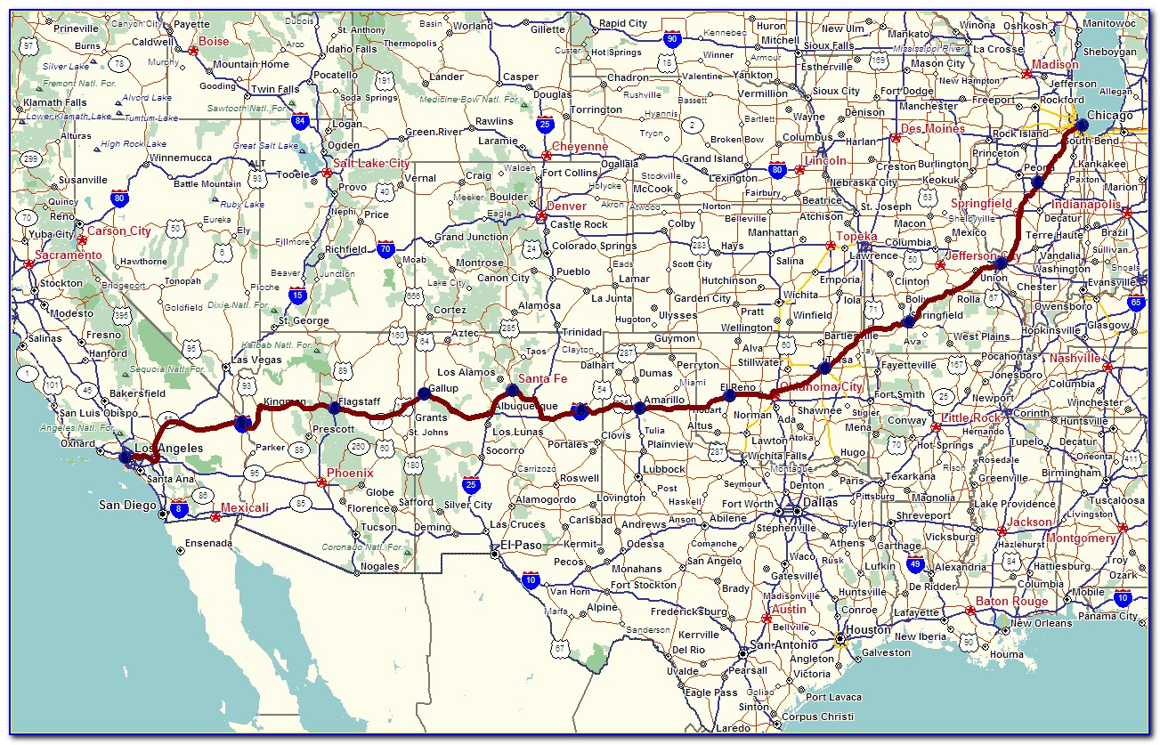 Map Of Historic Route 66 In Arizona