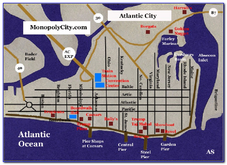 Map Of Hotels Along Atlantic City Boardwalk