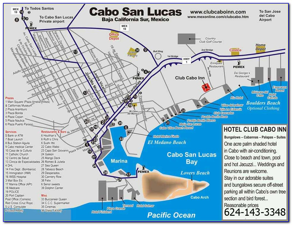 Map Of Hotels In Cabo San Lucas Corridor