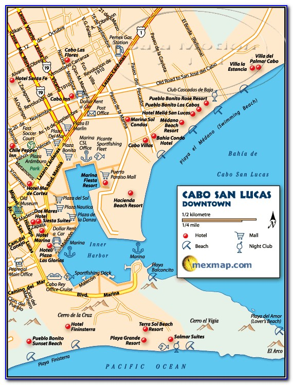 Map Of Hotels In Cabo San Lucas Medano Beach