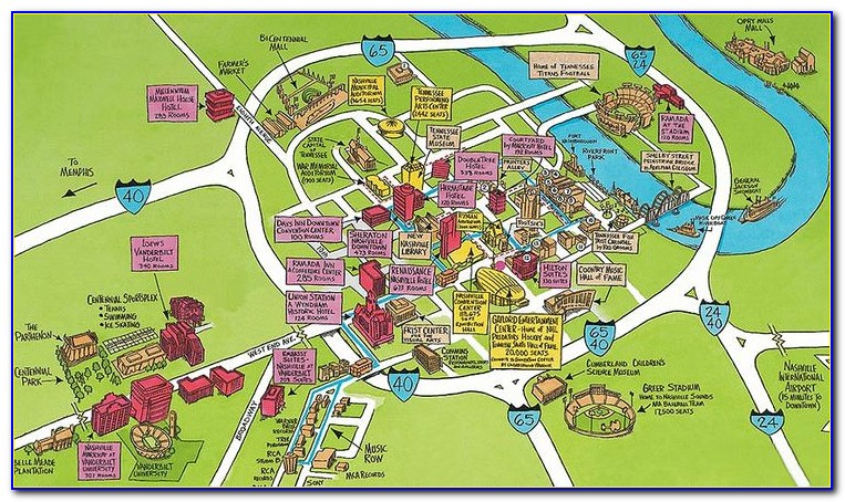 Map Of Hotels In Downtown Nashville