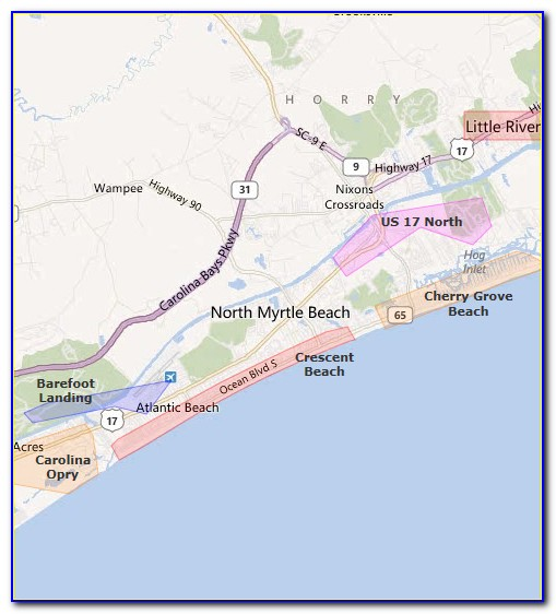 Map Of Hotels In North Myrtle Beach