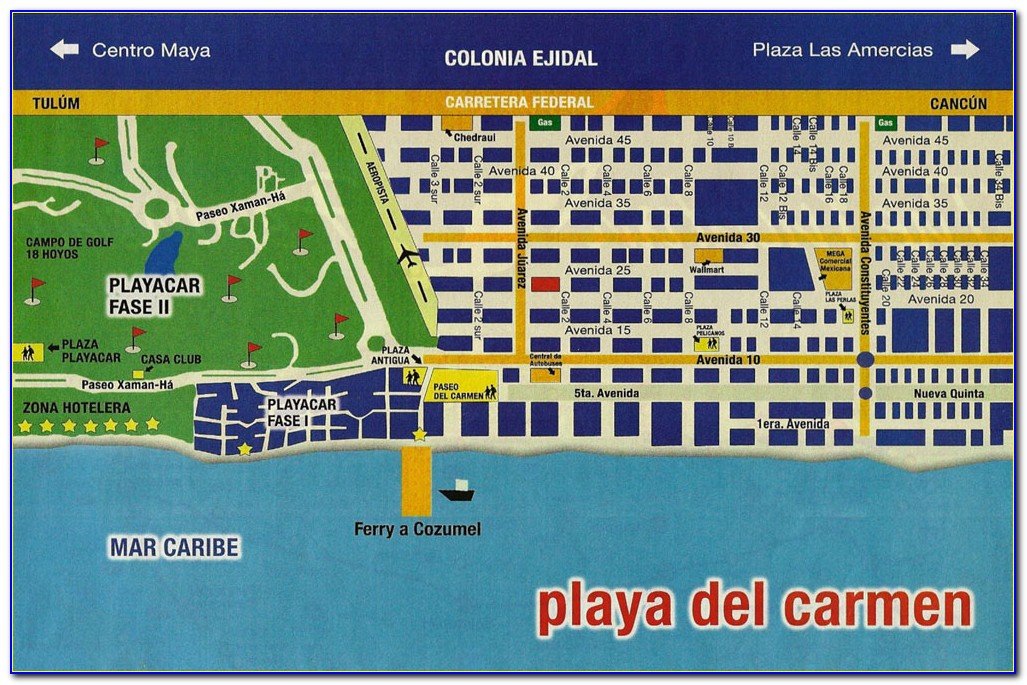 Map Of Hotels In Playa Del Carmen Riviera Maya