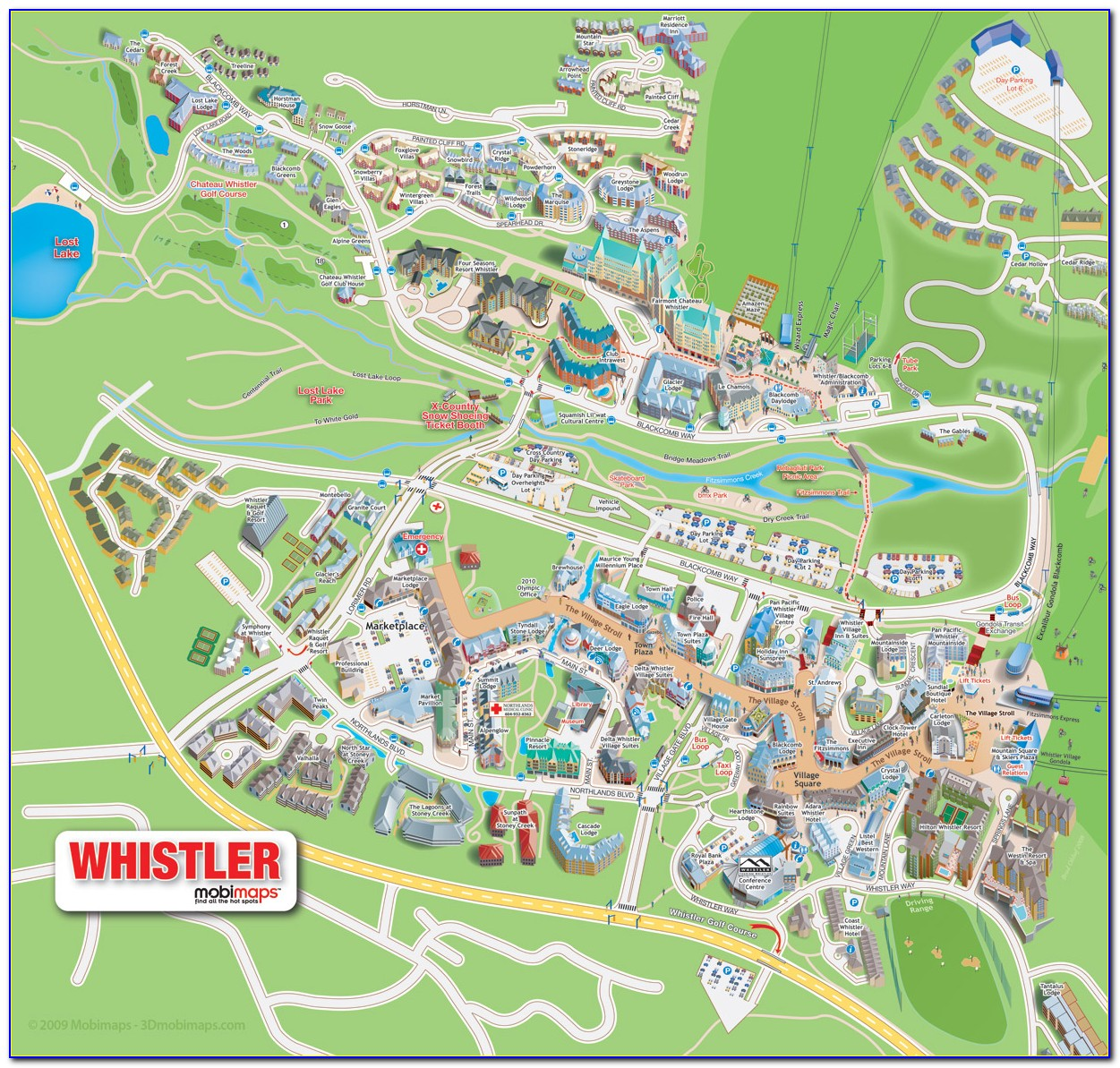 Map Of Hotels In Whistler Village