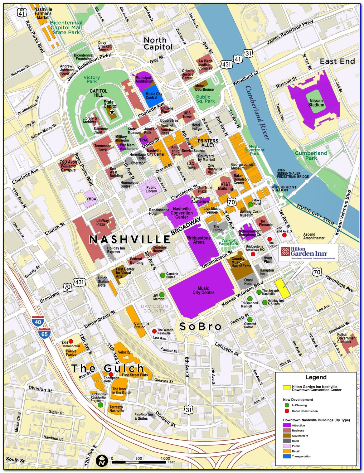 Map Of Hotels Near Downtown Nashville