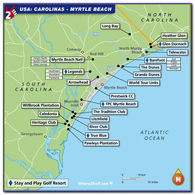 Map Of Hotels Near Myrtle Beach Boardwalk
