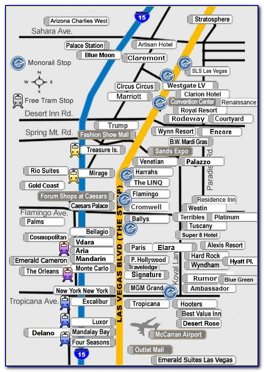 Map Of Hotels On Las Vegas Strip With Monorail
