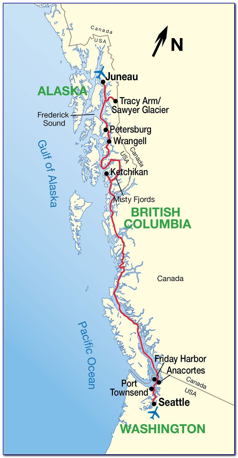 Map Of Inside Passage From Seattle To Alaska