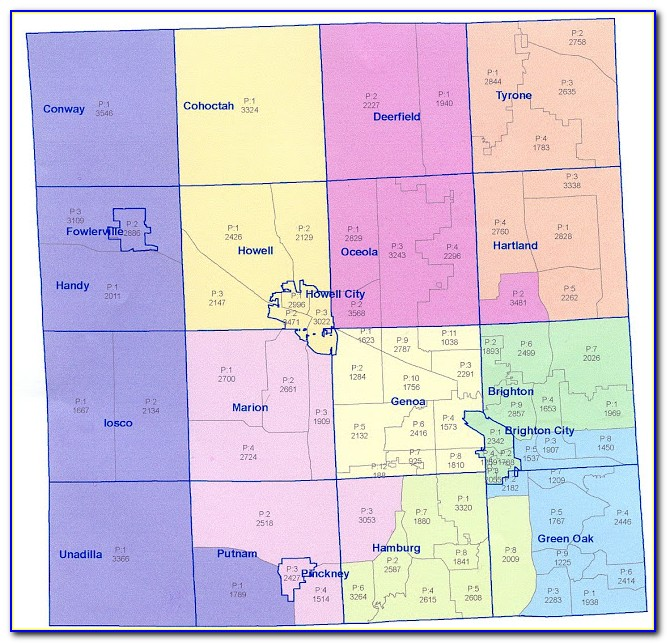 Map Of Livingston County Michigan Townships
