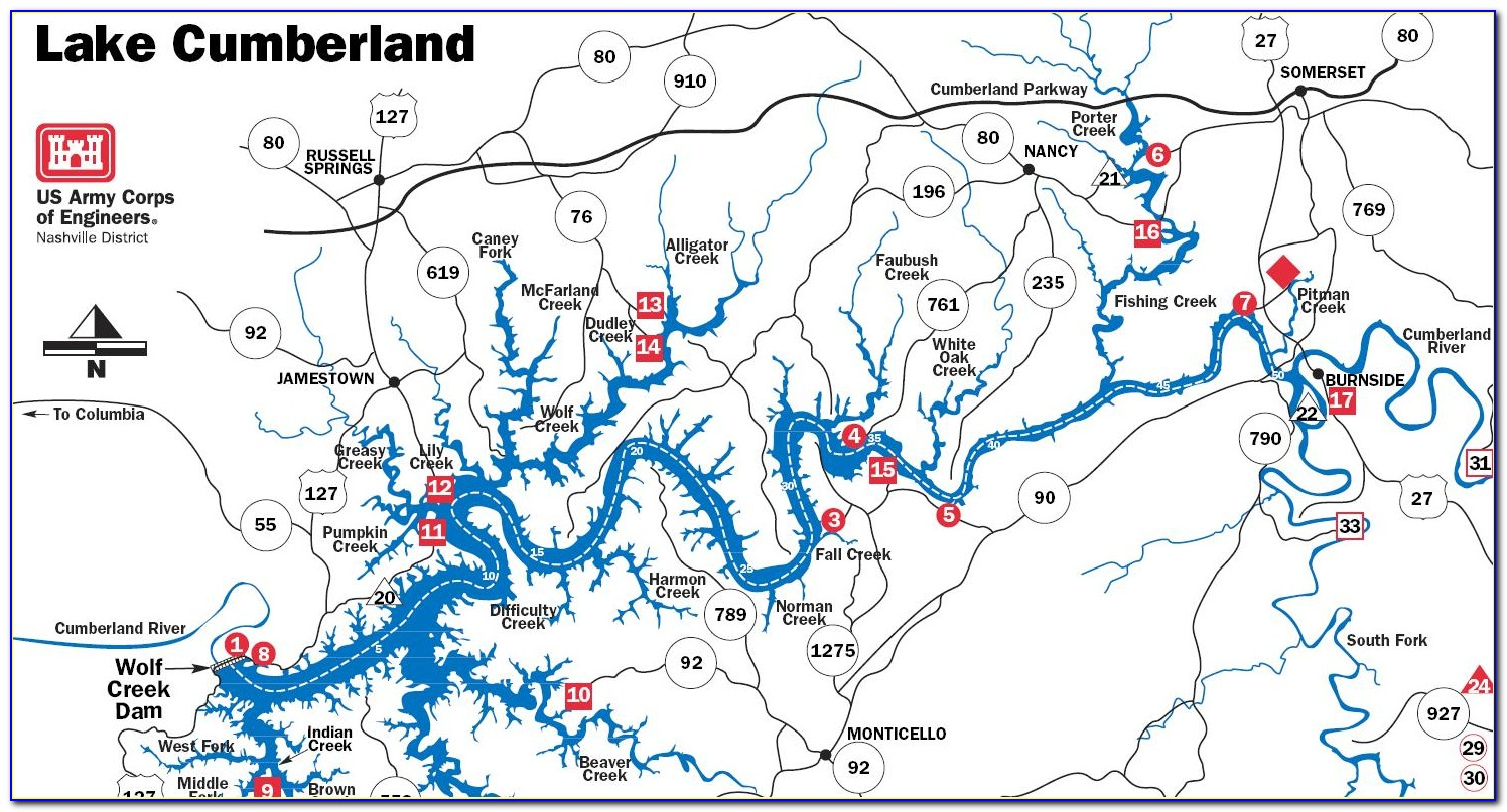 Map Of Marinas On Lake Cumberland