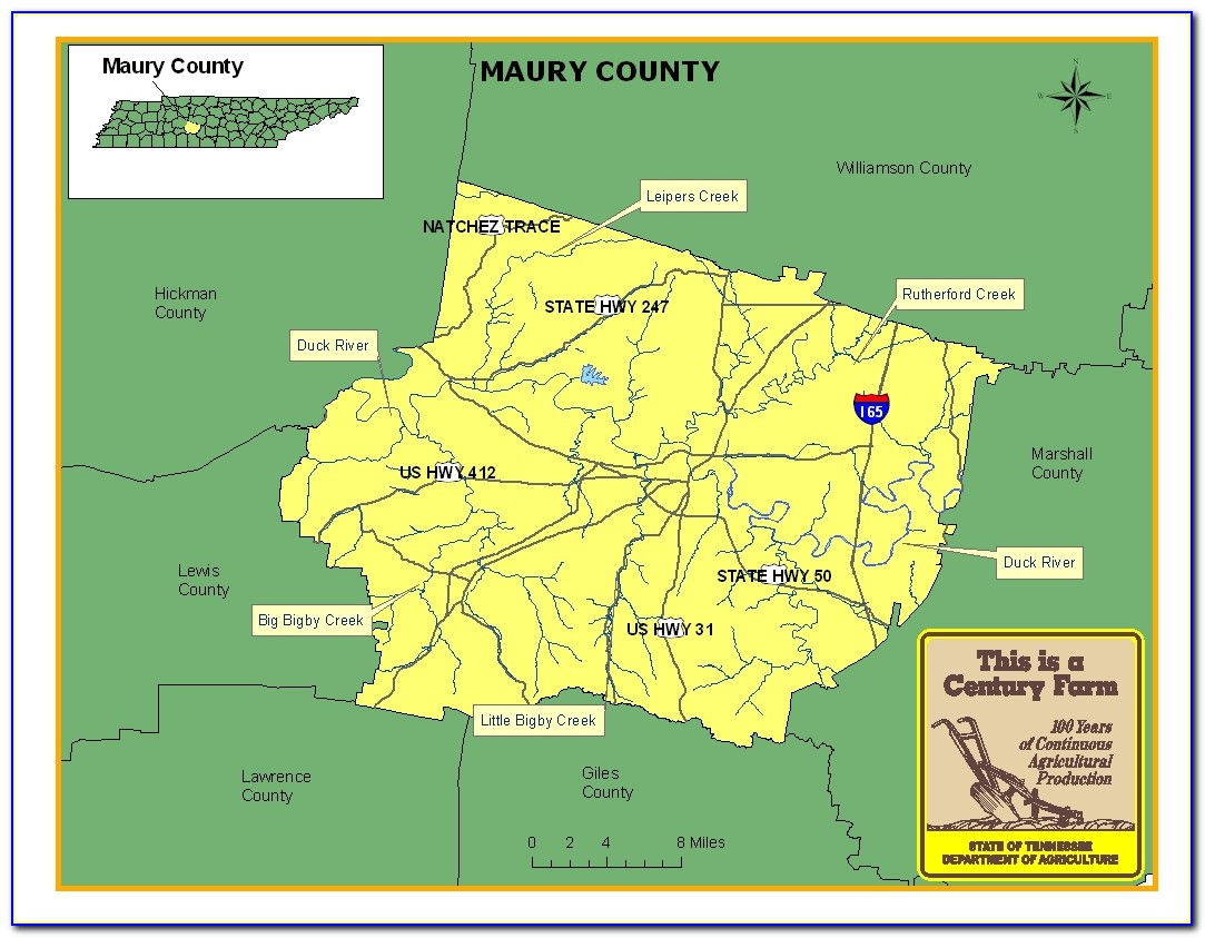 Map Of Maury County Tennessee